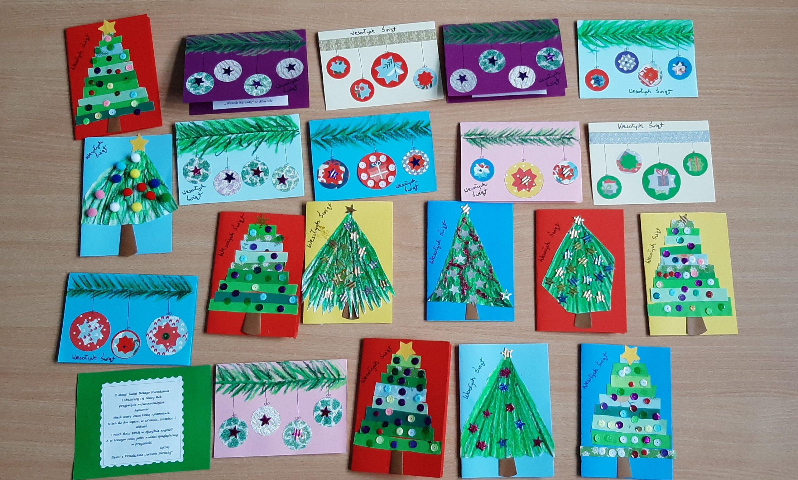 """""""Razem na Święta"""" - kartki z życzeniami dla ludzi samotnych i starszych w Domu Seniora wykonane przez Leśne Ludki"""